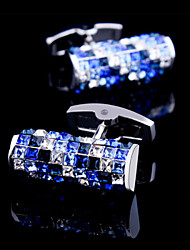 Fashion Copper Men Gift Jewelry Silver Czech Stones Square Blue Crystal Shirt Button Cufflinks(1Pair)