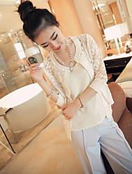 Women's Jacquard/Lace White/Black Jackets , Casual Round Neck ½ Length Sleeve Lace