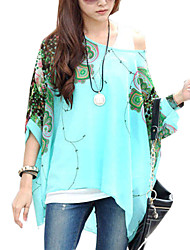 Women Loose Batwing Sleeve Prints Semi Sheer Blouses Clothes