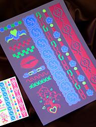 2016 nuevos 4pcs fluorescente tatuaje temporal pintura pegatina