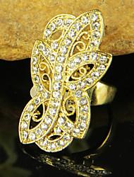 Women's Golden Flowers Rhinestones Rings