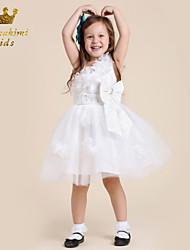 White Flower Girl Dress With Sequin Bow Tulle Pageant Dress