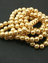 Beadia 2 Str(approx 230pcs) Glass Beads 8mm Round Imitation Pearl Beads Yellow Color DIY Spacer Loose Beads
