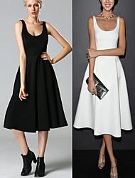 Robes ( Coton mélangé ) Informel/Soirée Sans manche pour Femme