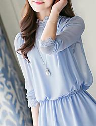 Women's Lace Blue Blouse ¾ Sleeve Lace/Ruffle