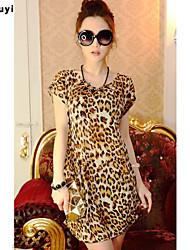 Damen Leopard Einfach Lässig/Alltäglich T-shirt,Rundhalsausschnitt Sommer Kurzarm Seide Dünn