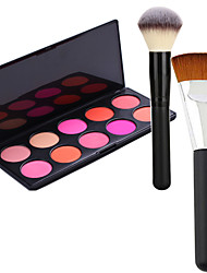 Pro Party 10 Colors Face Blush Blusher Powder Palette + 2Powder Brush