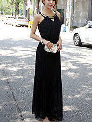 Women's Solid Black Dress , Casual/Party Strap Sleeveless Sequins