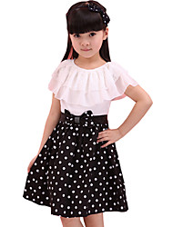 Children Kids Girls Baby Sleeveless Dot Korean Chiffon Summer Dress Clothes