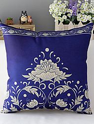 país porcelana azul estilo flor de algodão / linho capa de travesseiro decorativo