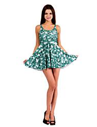 Women's Beach Pine Tree Print Stretchy Sleeveless Mini Dress (Spandex/Polyester)