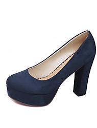 Mujer-Tacón Robusto-Tacones / Plataforma / Confort / Punta CerradaOficina y Trabajo / Casual-Vellón-Negro / Azul / Bermellón