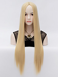 European Style Fashion Long Straight Hair Blonde Repair The Face of High-Quality Synthetic Wigs