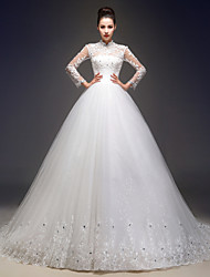 A-line Wedding Dress - Elegant & Luxurious Lacy Looks Court Train High Neck Lace / Tulle with Beading / Appliques / Sequin
