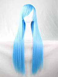 Cos Anime Bright Colored Wigs Water Blue Long  Straight  Hair Wig 80 cm