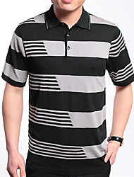 Men's Casual/Work/Formal/Sport Plaids & Checks/Pure Short Sleeve Regular T-Shirt (Cotton/Lycra/Organic Cotton)