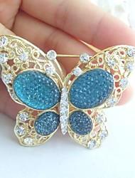 Women Accessories Gold-tone Turquoise Rhinestone Crystal Brooch Art Deco Butterfly Brooch Bouquet Women Jewelry