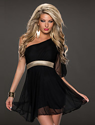 Retail Trendy Dresses Women One Shoulder With Gold Elastic Belt Summer Dress many Color Sexy Dress Club