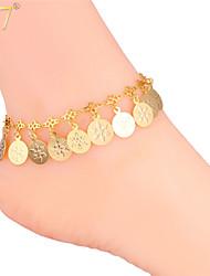 romántico verdadero oro monedas copo de nieve encantos cadenas de tobillo 18k / platino de la mujer u7® 18k pulseras tobilleras de