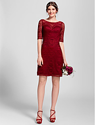 Bridesmaid Dress Knee-length Lace Sheath/Column Scoop Dress