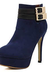 Women's Shoes Faux Leather Stiletto Heel Fashion Boots Boots Casual Black/Blue