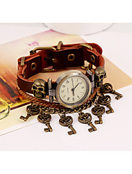 Lureme®  Europestyle Retro Leather Weave Skull  Key Pendant  Alloy Watch Bracelet Cool Watches Unique Watches