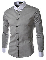 Men's Formal Pure Long Sleeve Regular Shirts (Cotton Blends/Polyester)