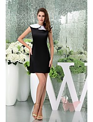 Knee-length Satin Bridesmaid Dress - Black Petite Sheath/Column Jewel
