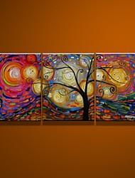 Pintura a óleo pintados à mão de 100% sobre tela 3pcs rica árvore / set sem moldura
