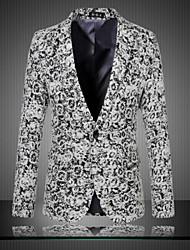 blazer de manga longa de algodão / poliéster mantas regulares dos homens e cheques tamanho m 6XL