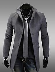 Men's Long Sleeve Long Trench coat , Nylon/Wool Pure