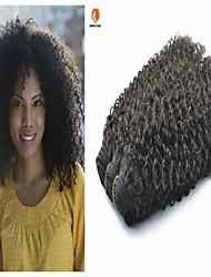 3Pcs Lot Brazilian Virgin Hair Kinky Curl Natural Black Color #1B Human Hair Weaves/Weaving