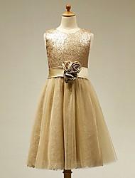 Vestido de menina de flor de joelho com uma linha e vestido de cetim sem mangas de cetim com flor por lan ting bride®