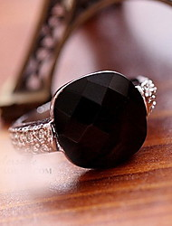 Black Agate Stone Crystal  Finger Ring
