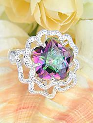 Estrelas de moda jóias fogo místico topaz jóia anéis coloridos instrução 925 de prata para festa de casamento 1pc casuais diária