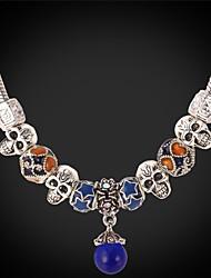 topgold bonito encantos do crânio europeu colar de pérolas gargantilha de prata tibetano jóias para as mulheres 50 centímetros de alta
