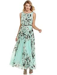 Women's Beach Print Dress,Round Neck Maxi Chiffon