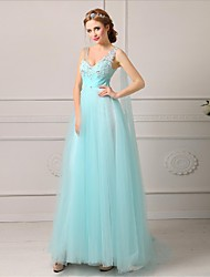 Formal Evening Dress A-line V-neck Floor-length Tulle with Appliques / Beading / Bandage