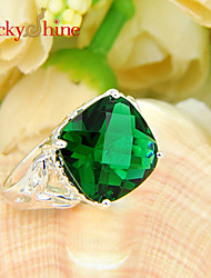 Lucky Shine Women's Men's Unisex 925 Silver Fashion Fire Square Green Quartz Crystal Gemstone Wedding Rings