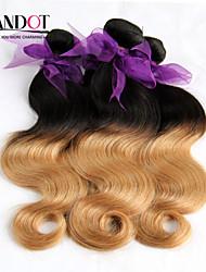 """4pcs muito 14-28 """"ombre peruvian_ 2 de dois tons preto loira 1b / 27 # remy virgem extensões de cabelo humano / tecelagem feixes onda do"""