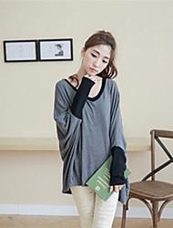 Women's Patchwork Black/Gray Blouse , Round Neck Long Sleeve