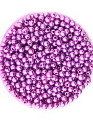 beadia 58g perles de nacre (environ 2000pcs) 4mm abs rond léger perles en plastique de couleur pourpre
