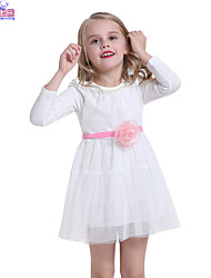 Children Spring Girls Fashion Big Flower Lace Long Sleeve Dress Clothes