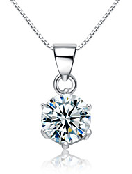 Jazlyn® Woman Platinum Plated 925 Sterling Silver Simple Cubic Zirconia Necklace Pendant Christmas Gift
