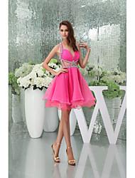Retrouvailles robe de cocktail A-ligne Halter / chérie genou / tribunal train organza robe courte womn