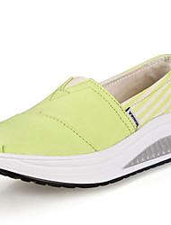 Zapatos de mujer - Tacón Cuña - Plataforma / Zapatos de Cuna - Mocasines - Oficina y Trabajo / Casual - Tela - Negro