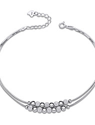 Jazlyn Authentic Platinum Plated 925 Sterling Silver Woman Polish Frosted Lucky Beads Chain Bracelet