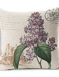 Country Style Purple Flowers Patterned Cotton/Linen Decorative Pillow Cover