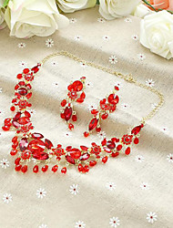 Chinese Red Rhinestones Titanium Jewerly Sets with Earrings
