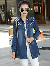 Women's Polka Dot Blue Cotton Two Ways Wear Top and Coat , Casual / Cute